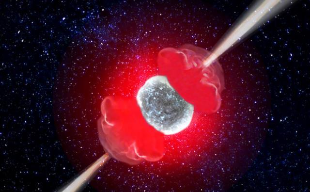 ガンマ線バーストと極超新星の想像図