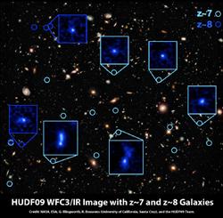 HSTで観測した131億光年かなたの銀河の画像