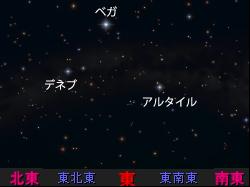 暗いところで見たおり姫星とひこ星、夏の大三角