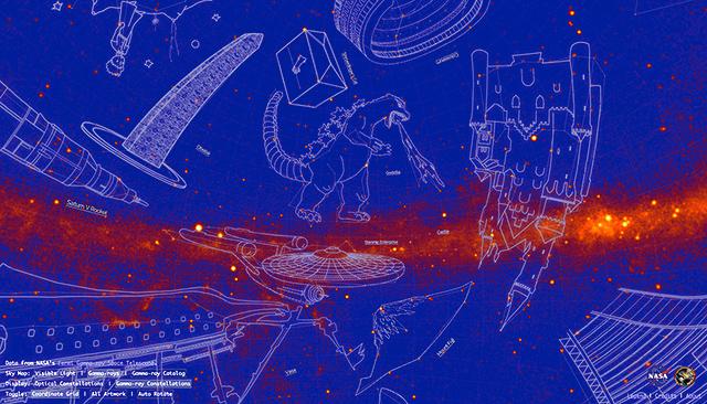 ガンマ線天体をつないだ「星座」をNASAが公表、「ゴジラ」「ふじさん ...