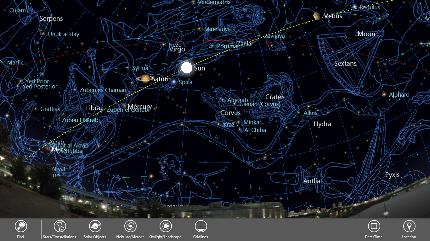 Various celestial objects including constellation pictures